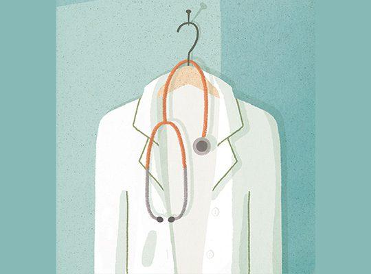 Illustration of doctor's white coat and stethoscope on a hanger