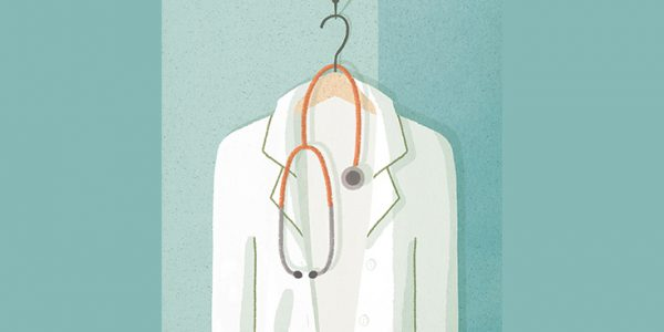 Illustration of doctor's white coat and stethoscope on a hanger