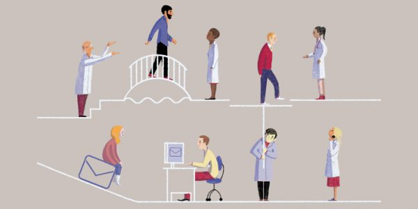 Illustration of continuity of care showing patients and doctors at various points of care