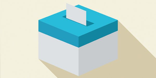 Illustrated voters box with inserted ballot