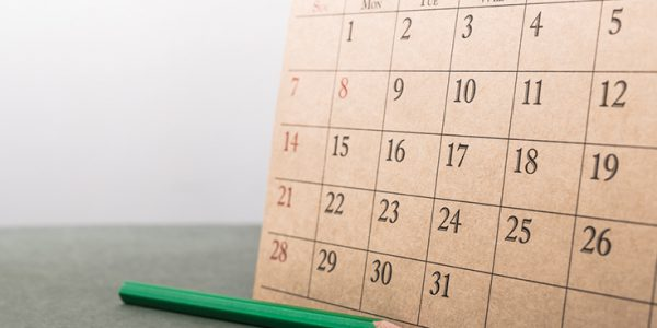 Hand-drawn calendar on a piece of cardboard