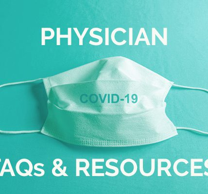 """Medical mask with text, """"Physician FAQs & Resources"""""""