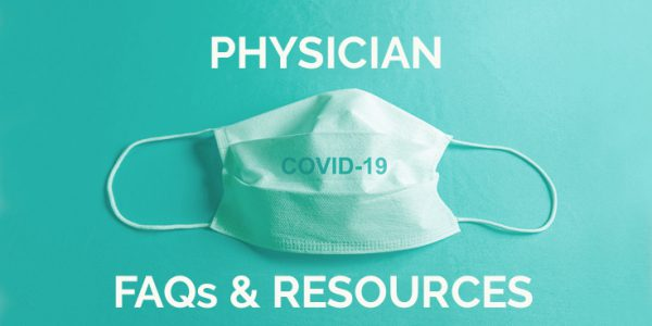 "Medical mask with text, ""Physician FAQs & Resources"""