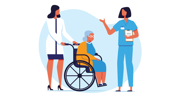 illustration doctors speaking to a patient using a wheelchair