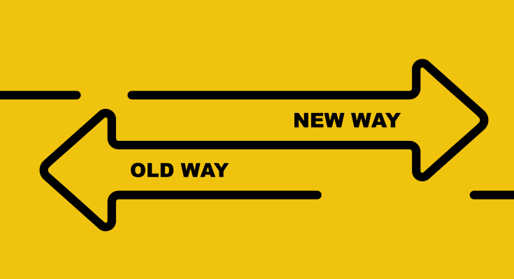 Illustrated arrows pointing to old way and new way