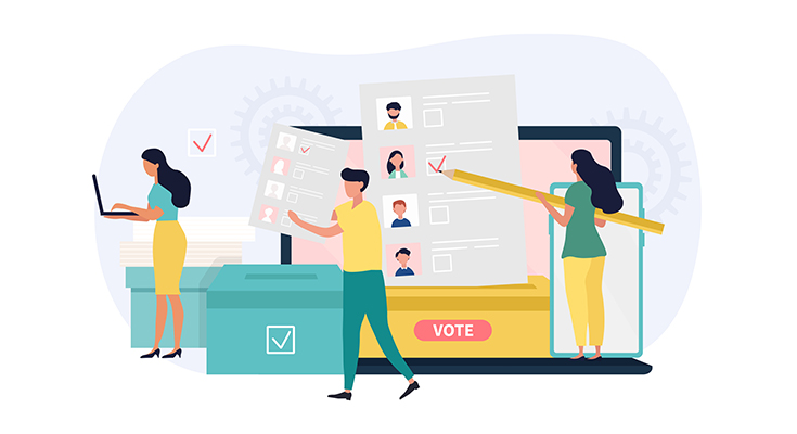 Illustrated montage of people voting