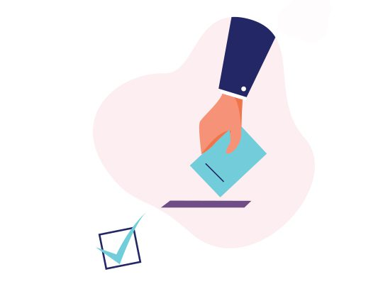 Illustration of hand placing ballot in slot