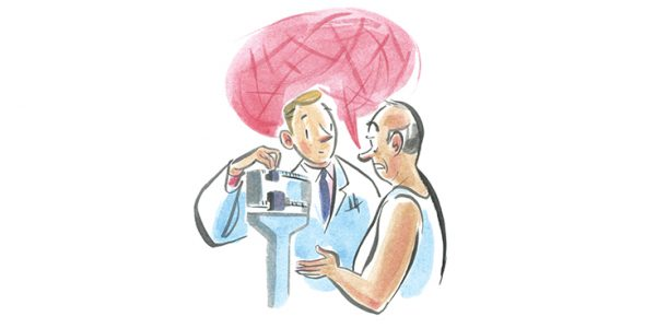 Illustration of patient speaking to doctor while standing on scale