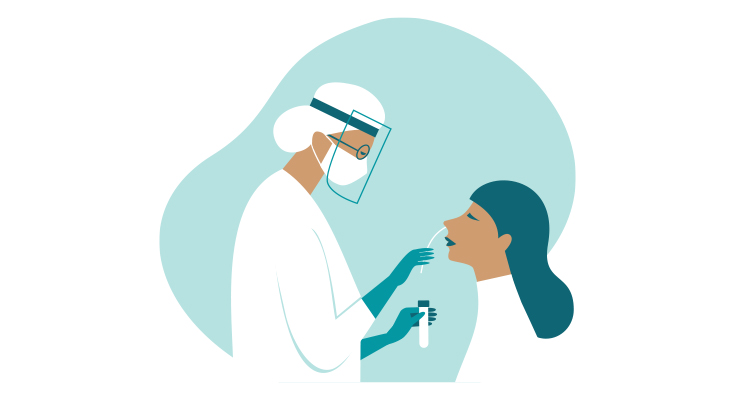 Illustration of a healthcare worker administering a COVID-19 test