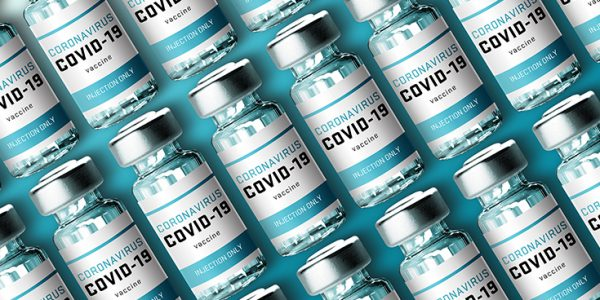 Rows of COVID-19 vaccine vials