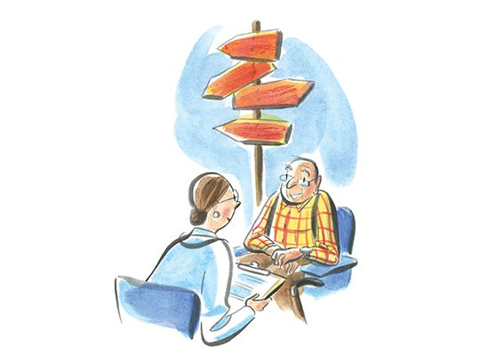 Illustration of physician discussing options with elderly patient