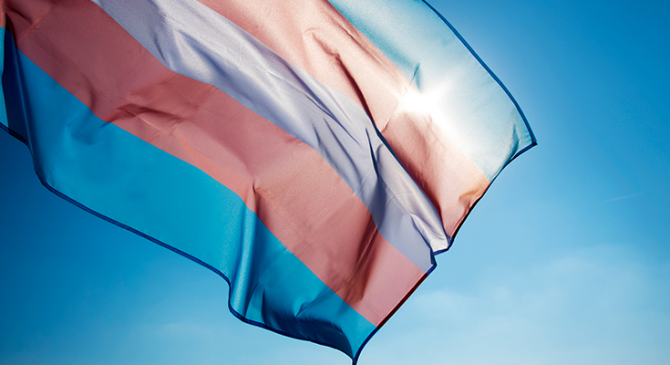 Close-up of pride flag waving in the wind