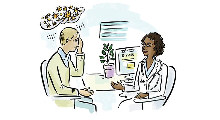 Illustration of a physician speaking to a distressed patient