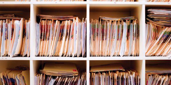 Shelves of medical charts