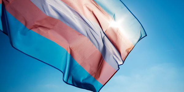 Rainbow flag billowing in the wind