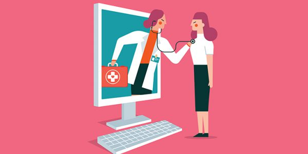 Illustration of a physician examining a patient through a computer screen